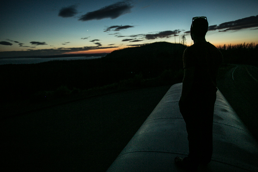 Hank taking in the last light over Yellowstone Lake.