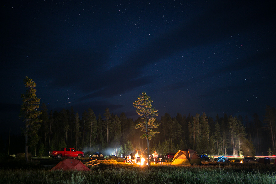 Bridge Bay Campgrounds at night.